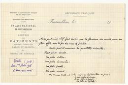 Ordre De Service Palais De Fontainebleau - Vente Du 1er Août 1918 De Plantes Médicinales - Historical Documents