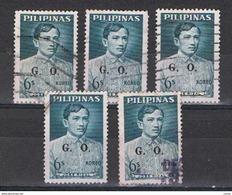 FILIPPINE: 1962/64  SERVIZIO  SOPRASTAMPATO  -  6 S. BLU-GRIGIO  US. -  RIPETUTO  5  VOLTE  -  MICHEL  55 - Filippine