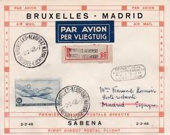Lettre Bruxelles Madrid Retour 1948 - Poste Aérienne