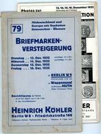 79. Köhler Briefmarken Auktion 1932 - Sehr Seltener Auktionskatalog Mit Den Bildtafeln - Catalogues For Auction Houses