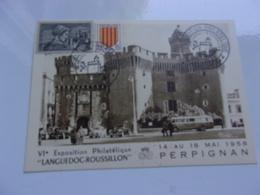 FRANCE (1958) Exposition Philatélique Languedoc Roussillon PERPIGNAN - Cartes-Maximum