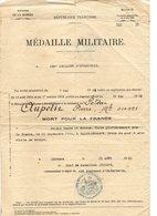 MINISTRE DE LA GUERRE     MEDAILLE MILITAIRE  138ème REGIMENT INFANTERIE  1922    A PIERRE AUPETIT - Old Paper