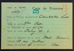 CARTE DE COLIS Mairie De MEKNES Maroc 1942 Prisonnier De Guerre STALAG VII A Moosburg - Marcophilie (Lettres)
