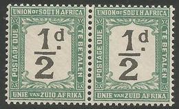 South Africa - 1922 Postage Due 1/2d Pair (POSTADE Error L/H Stamp) MNH **   SG D11v  Sc J11v - Postage Due
