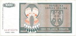 Croatia 1000 Dinara 1992. P-R5 - Croatie