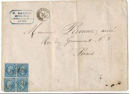 AUBE ENV 1865 VENDEUVRE SUR BARSE LETTRE EN TRIPLE PORT VOIR LES SCANS - Marcophilie (Lettres)