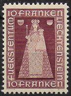 Liechtenstein 1941: Madonna Von Dux (10 FRANKEN) Zu 150 Mi 197 Yv 172 * Falzspur MLH (Zumstein CHF 110.00 - 50% = 55.00) - Liechtenstein