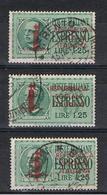 R.S.I.:  1944  ESPRESSO  SOPRASTAMPATO  -  £. 1,25  VERDE  US. -  RIPETUTO  3  VOLTE  -  SASS. 21 - 4. 1944-45 Repubblica Sociale