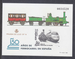 ESPAÑA SPAIN - TRENES-TRAINS-ZÜGE-TRAINS PRUEBA OFICIAL Nº 67 CATALOGO EDIFIL - TIRADA 55.000 - BUENA OCASIÓN - Trenes
