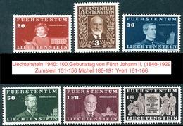 Liechtenstein 1940: Fürst Johann II.(1840-1929) Zu 151-156 Mi 186-191 Yv 161-166 * Falz MLH (Zu CHF 65.00 -50%). - Royalties, Royals