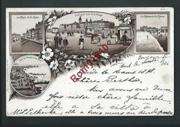 Ostende.  Très Belle Litho Multivues Animée.  Circulé En 1898.  Voir Les 2 Scans. - Oostende