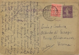 France 1928 Postal Stationery Postcard 40 C. + Stamp 50 C. Semeuse Posted To Italy - Storia Postale