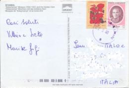 Turkey 1998 Picture Postcard To Italy With 50 L. Ataturk + 100 L. Euphorbia Pulcherima - Flora