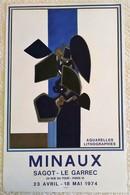 BELLE GRANDE AFFICHE ANCIENNE ORIGINALE LITHOGRAPHIQUE PEINTRE MINAUX 1974 Imprimeur Mourlot Vintage - Posters