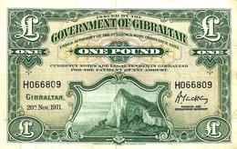 GIBRALTAR 1 POUND GREEN QEII ROCK FRONT EMBLEM BACK DATED 20-11-1971 P.18b  VF  READ DESCRIPTION ! - Gibraltar