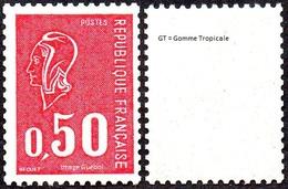 France Marianne De Béquet N° 1664 A ** Variété Gomme Tropicale, Le 0f50 Rouge - 1971-76 Marianne Of Béquet