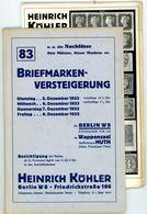83. Köhler Briefmarken Auktion 1933 - Sehr Seltener Auktionskatalog Mit Den Bildtafeln - Catalogues For Auction Houses