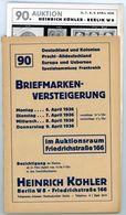 90. Köhler Briefmarken Auktion 1936 - Sehr Seltener Auktionskatalog Mit Den Bildtafeln - Catalogues For Auction Houses