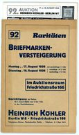 92. Köhler Briefmarken Auktion 1936 - Sehr Seltener Auktionskatalog Mit Den Bildtafeln - Catalogues For Auction Houses