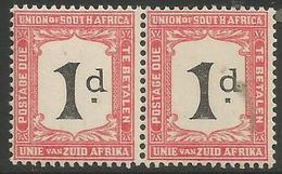 South Africa - 1923 Postage Due Pair 1d (POSTADE Error L/H Stamp) MNH **   SG D12v  Sc J12v - Postage Due