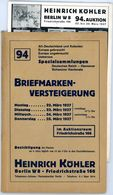 94. Köhler Briefmarken Auktion 1937 - Sehr Seltener Auktionskatalog Mit Den Bildtafeln - Catalogues For Auction Houses