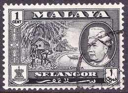 MALAYA SELANGOR 1957 1c Black SG116 Fine Used - Selangor