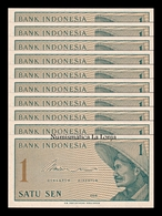 Indonesia Lot Bundle 10 Banknotes 1 Sen 1964 Pick 90 SC UNC - Indonesia