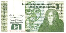 IRELAND 1 POUND GREEN WOMAN FRONT & MOTIF BACK SIG.MURRAY-? DATED 09-04-1981 P?70c F+ READ DESCRIPTION !! - Irlanda