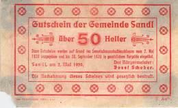 50 Hl. Notgeld Sandl Oberösterreich VG/G (IV) - Oesterreich