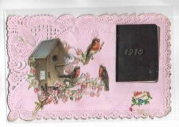 Belle Carte De Voeux Ajourée Avec Petit Agenda 1910. Oiseaux Rouge-gorge - Nouvel An