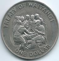 New Zealand - Elizabeth II - 1990 - 1 Dollar - 150th Anniversary Of The Treaty Of Waitangi - KM76 - Nouvelle-Zélande