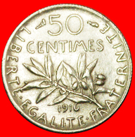 + III REPUBLIC (1870-1940): FRANCE ★ 50 CENTIMES 1916 SILVER! 1 Sold! LOW START ★ NO RESERVE! - G. 50 Centimes