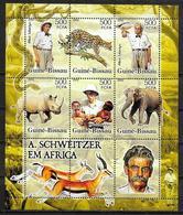 GUINEE BISSAU  N°  2134/39  * *  ( Cote 15e )  Schweitzer Guepard Elephants Rhinoceros Gazelle - Albert Schweitzer