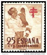 ESPAÑA AÑO 1951 EDIFIL Nº 1105 ** MNH - PRO TUBERCULOSOS - 25 Cts -  Sello Nuevo Sin Señal De Fijasellos - 1951-60 Nuevos & Fijasellos