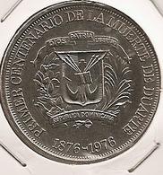 DOMINICAINE REPUBLIQUE 1 PESO 1976 RARO RARE MINTAGE 25 000 - Dominicaine