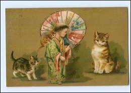 Y11874/ Katzen  Kind Als Geisha Litho AK 1911 - Cats