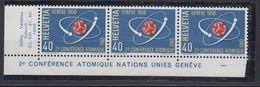 Switzerland 1958 Conférence Atomique Nations Unies 1v Strip 3v (+margin) ** Mnh (43173) - Zwitserland