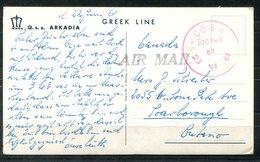 4729 - IRLAND - Ansichtskarte (Schiff Q.S.S.Arkadia) Mit Rotem Stempel COBH ÍOCTHA (= Gebühr Bezahlt) Nach Canada - 1949-... Republik Irland