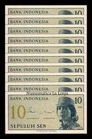 Indonesia Lot Bundle 10 Banknotes 10 Sen 1964 Pick 92 SC UNC - Indonesia