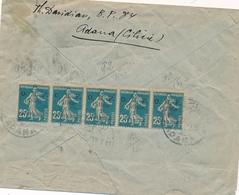 """CILICIE SEMEUSE 140 Surch """" OMF 1 PIASTRE """" BANDE De 5 + VARIÉTÉ Obl """"ADANA 26/9/21 Sur Lettre Pour Paris - Cilicia (1919-1921)"""