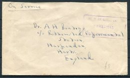 1943 No 71 Air School, Milner Park, Johannesburg S.A.A.F. Cover - Rothamsted Experimental Station, Harpenden, England - Lettres & Documents
