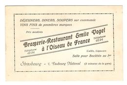 CARTE EMILE VOGEL STRASBOURG - BRASSERIE RESTAURANT à L'OISEAU De FRANCE - Vieux Papiers