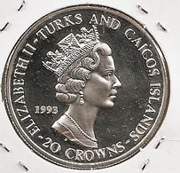 TURKS END CAICOS 5 CROWNS 40th Anniversary - Reign Of Elizabeth II RARE - Turks & Caicos (Îles)