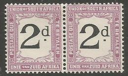 South Africa - 1923 Postage Due Pair 2d Error POSTADE L/H Stamp MH *   SG D14v  Sc J14v - Postage Due