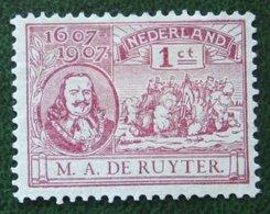 1 Cent De Ruyter Zegel NVPH 88 (Mi 73) 1907 Ongebruikt / MH NEDERLAND / NIEDERLANDE - Ungebraucht