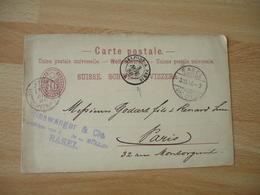 1901 Belfort A Paris Cachet Ambulant Convoyeur Poste Ferroviaire Sur Entier Postal Suisse - Postmark Collection (Covers)