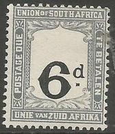South Africa - 1923 Postage Due 6d Value Shift MLH *   SG D16v  Sc J16v - Postage Due
