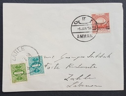 BL46920 - Jordan Cover From AMMAN To ZAHLE 5-1-56 Franked With Lebanon Tax Due Stamps Used For Post Restante Super Rare - Líbano
