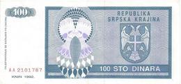 Croatia Knin Krajina 100 Dinara 1992.  P-R3 - Croatie