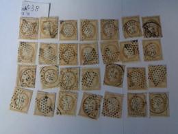 Lot N°38, Type Cerés Dentelé III éme République  ,gros Chiffre ,28 Timbres ,n°55 , Oblitérés  Charniéres - 1871-1875 Cérès